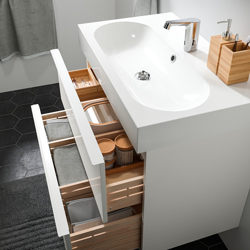 BRÅVIKEN/GODMORGON - 雙抽屜洗手盆櫃, 光面 白色/BROGRUND水龍頭 | IKEA 香港及澳門 - PE811290_S4