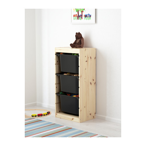 TROFAST - storage combination with boxes, light white stained pine/black | IKEA Hong Kong and Macau - PE613439_S4