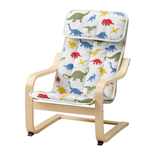 POÄNG - children's armchair, birch veneer/Medskog dinosaur pattern | IKEA Hong Kong and Macau - PE811452_S4