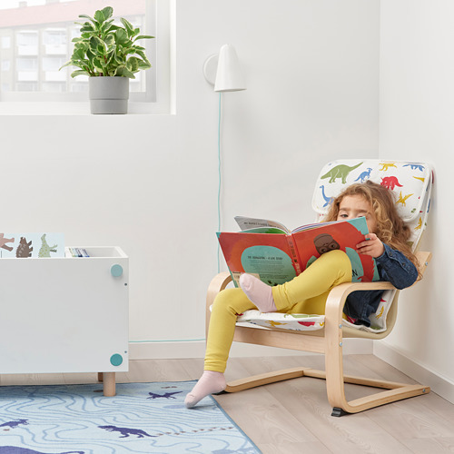 POÄNG - children's armchair, birch veneer/Medskog dinosaur pattern | IKEA Hong Kong and Macau - PE811451_S4