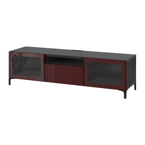 BESTÅ - TV bench, black-brown Selsviken/Nannarp/high-gloss dark red-brown | IKEA Hong Kong and Macau - PE755918_S4