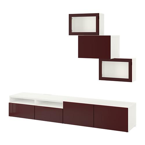BESTÅ - TV storage combination/glass doors, white Selsviken/dark red-brown clear glass | IKEA Hong Kong and Macau - PE755927_S4