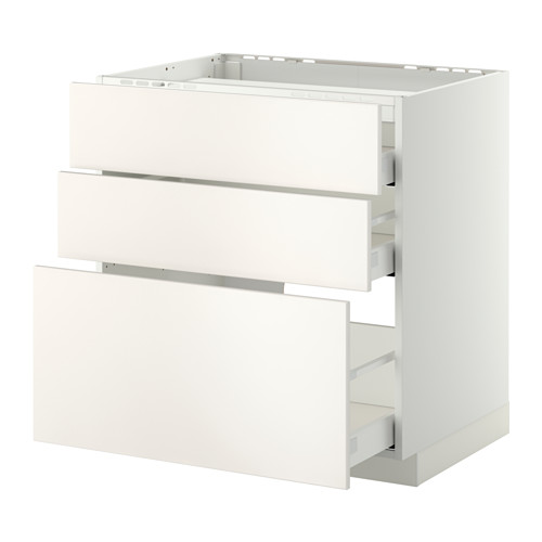 METOD base cab f hob/3 fronts/3 drawers