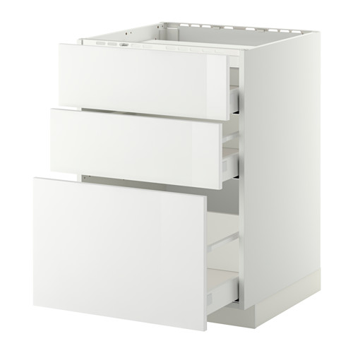 METOD/MAXIMERA - base cab f hob/3 fronts/3 drawers, white/Ringhult white | IKEA Hong Kong and Macau - PE411715_S4