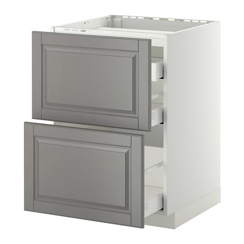 METOD/MAXIMERA - base cab f hob/2 fronts/3 drawers, white/Bodbyn grey | IKEA Hong Kong and Macau - PE412347_S4