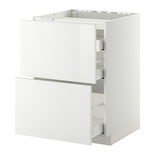 METOD/MAXIMERA - base cab f hob/2 fronts/3 drawers, white/Ringhult white | IKEA Hong Kong and Macau - PE412364_S4