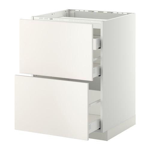 METOD/MAXIMERA - base cab f hob/2 fronts/3 drawers, white/Veddinge white | IKEA Hong Kong and Macau - PE412370_S4