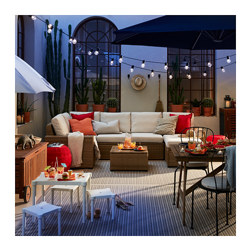 SOLLERÖN - modular corner sofa 4-seat, outdoor, with footstool brown/Frösön/Duvholmen beige   IKEA Hong Kong and Macau - PE717327_S4
