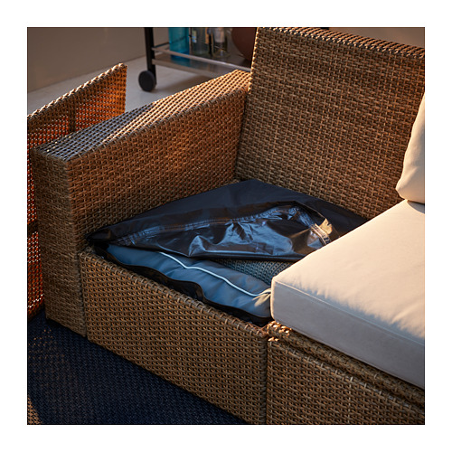 SOLLERÖN - modular corner sofa 4-seat, outdoor, with footstool brown/Frösön/Duvholmen beige | IKEA Hong Kong and Macau - PE717341_S4