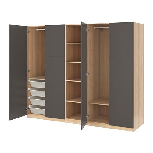 PAX - wardrobe, white stained oak effect/Meråker dark grey | IKEA Hong Kong and Macau - PE667901_S4