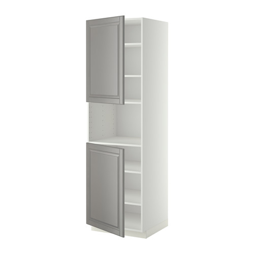METOD - high cab f micro w 2 doors/shelves, white/Bodbyn grey | IKEA Hong Kong and Macau - PE408901_S4