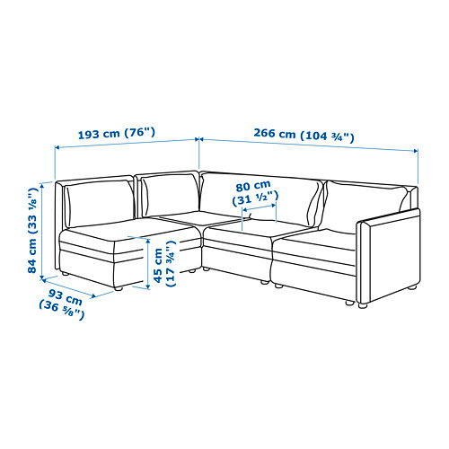 VALLENTUNA 3座位角位組合式梳化