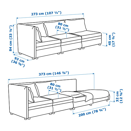 VALLENTUNA - 3-seat modular sofa with sofa-bed, with open end/Murum black | IKEA Hong Kong and Macau - PE717446_S4