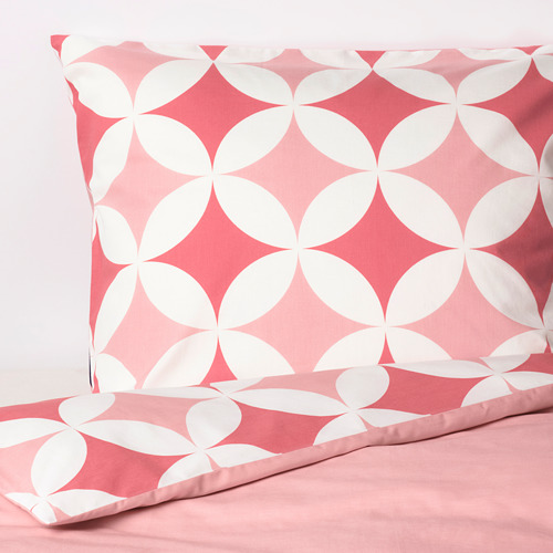 GRACIÖS - 被套枕袋套裝, 方塊圖案/粉紅色   IKEA 香港及澳門 - PE756593_S4