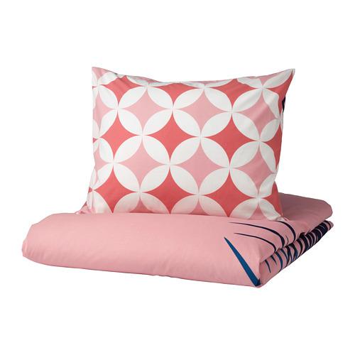 GRACIÖS - 被套枕袋套裝, 方塊圖案/粉紅色   IKEA 香港及澳門 - PE756592_S4