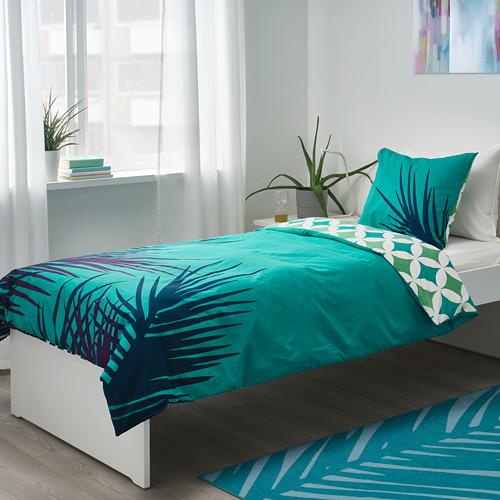 GRACIÖS - 被套枕袋套裝, 方塊圖案/湖水綠色   IKEA 香港及澳門 - PE756605_S4