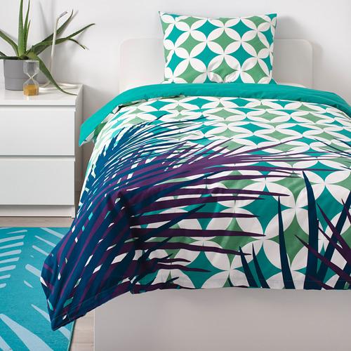 GRACIÖS - 被套枕袋套裝, 方塊圖案/湖水綠色   IKEA 香港及澳門 - PE756606_S4