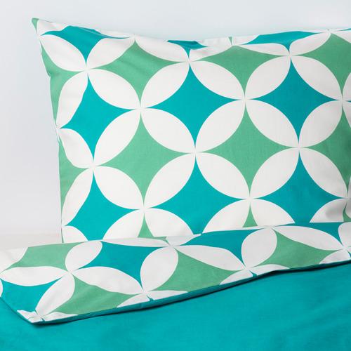GRACIÖS - 被套枕袋套裝, 方塊圖案/湖水綠色   IKEA 香港及澳門 - PE756609_S4