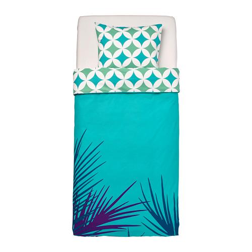 GRACIÖS - 被套枕袋套裝, 方塊圖案/湖水綠色   IKEA 香港及澳門 - PE756610_S4