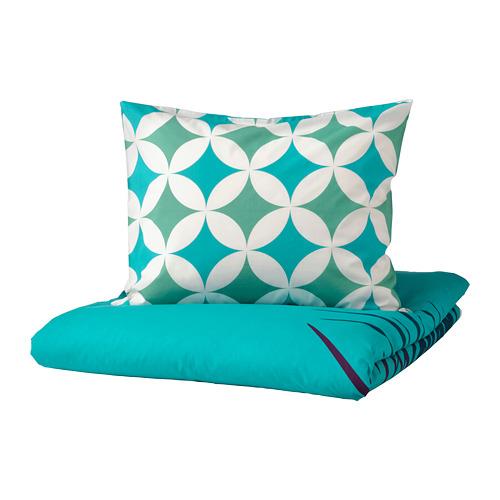 GRACIÖS - 被套枕袋套裝, 方塊圖案/湖水綠色   IKEA 香港及澳門 - PE756608_S4