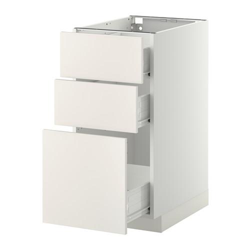 METOD - base cabinet with 3 drawers, white Förvara/Veddinge white   IKEA Hong Kong and Macau - PE409367_S4