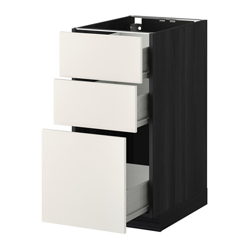 METOD - base cabinet with 3 drawers, black Förvara/Veddinge white | IKEA Hong Kong and Macau - PE409339_S4