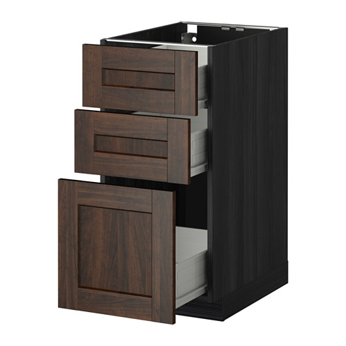METOD - base cabinet with 3 drawers, black Förvara/Edserum brown | IKEA Hong Kong and Macau - PE409324_S4