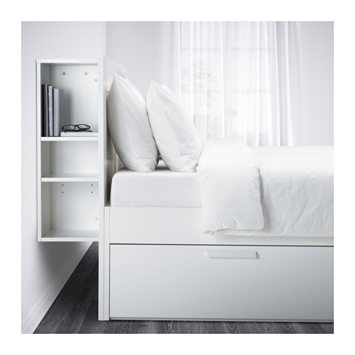 BRIMNES bed frame w storage and headboard, LURÖY, double