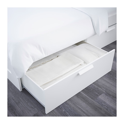 BRIMNES bed frame w storage and headboard, LÖNSET, double