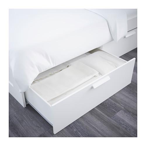 BRIMNES 特大雙人床架連床頭板連抽屜, LÖNSET
