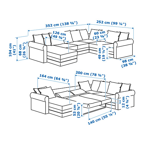 GRÖNLID - corner sofa-bed, 5-seat, with chaise longue/Ljungen medium grey | IKEA Hong Kong and Macau - PE717564_S4