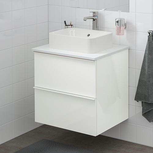 HÖRVIK/GODMORGON/TOLKEN - 洗手盆櫃連櫃台板組合, high-gloss white/marble effect Brogrund tap | IKEA 香港及澳門 - PE756625_S4