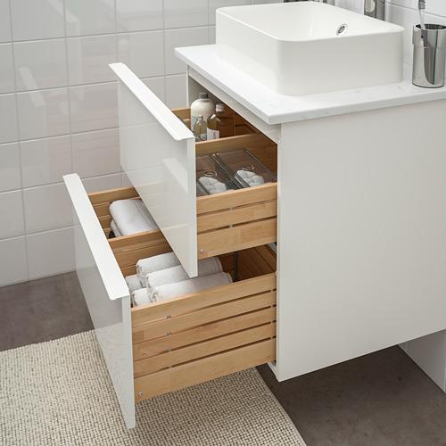 HÖRVIK/GODMORGON/TOLKEN - 洗手盆櫃連櫃台板組合, high-gloss white/marble effect Brogrund tap | IKEA 香港及澳門 - PE756627_S4