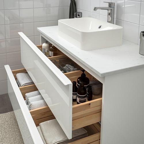HÖRVIK/GODMORGON/TOLKEN - 洗手盆櫃連櫃台板組合, high-gloss white/marble Brogrund tap   IKEA 香港及澳門 - PE756656_S4