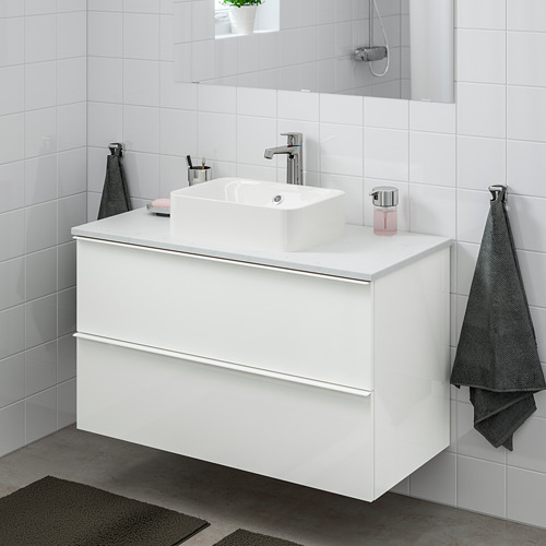 HÖRVIK/GODMORGON/TOLKEN - 洗手盆櫃連櫃台板組合, high-gloss white/marble Brogrund tap   IKEA 香港及澳門 - PE756638_S4