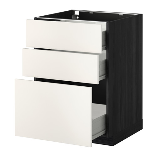 METOD - base cabinet with 3 drawers, black Förvara/Veddinge white | IKEA Hong Kong and Macau - PE409384_S4