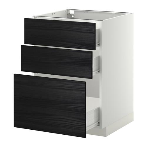 METOD - base cabinet with 3 drawers, white Förvara/Tingsryd black | IKEA Hong Kong and Macau - PE409411_S4