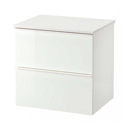 TOLKEN/GODMORGON - 雙抽屜洗手盆櫃, high-gloss white/marble effect | IKEA 香港及澳門 - PE717718_S4