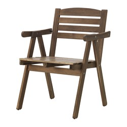 FALHOLMEN - chair with armrests, outdoor, light brown stained | IKEA Hong Kong and Macau - PE615128_S3