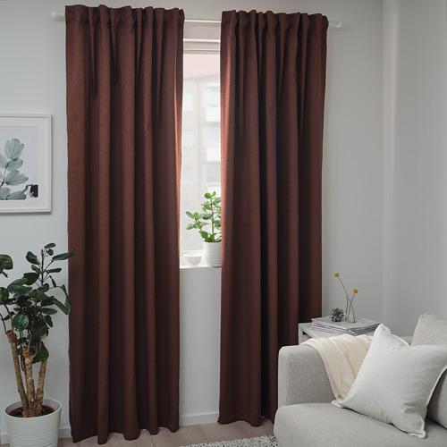 BLÅHUVA - block-out curtains, 1 pair, brown-red | IKEA Hong Kong and Macau - PE756682_S4