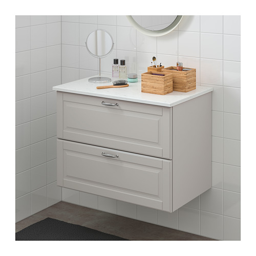 TOLKEN/GODMORGON - 雙抽屜洗手盆櫃, Kasjön 淺灰色/雲石紋 | IKEA 香港及澳門 - PE718035_S4