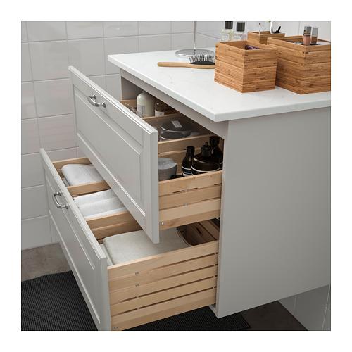 TOLKEN/GODMORGON - 雙抽屜洗手盆櫃, Kasjön 淺灰色/雲石紋 | IKEA 香港及澳門 - PE718037_S4