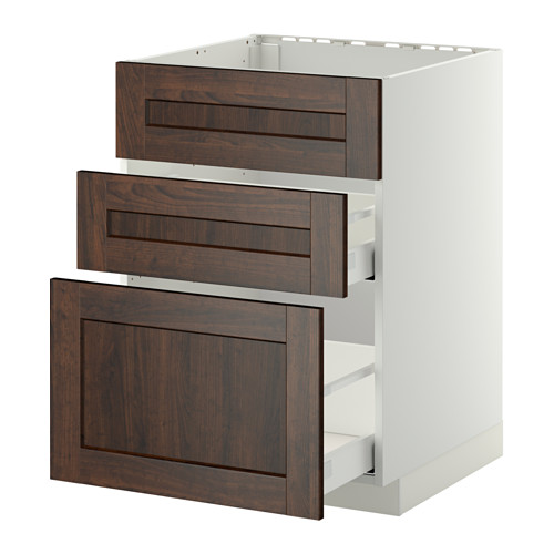 METOD/MAXIMERA - base cab f sink+3 fronts/2 drawers, white/Edserum brown | IKEA Hong Kong and Macau - PE410171_S4