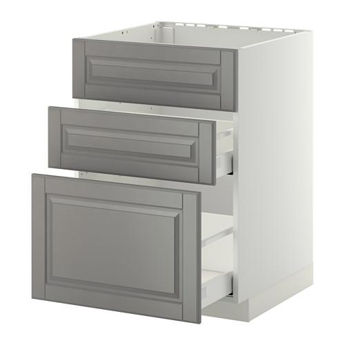 METOD/MAXIMERA - base cab f sink+3 fronts/2 drawers, white/Bodbyn grey | IKEA Hong Kong and Macau - PE410168_S4