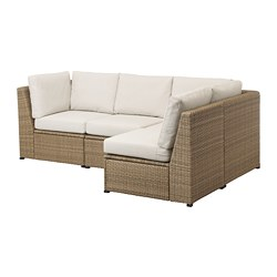 SOLLERÖN - modular corner sofa 3-seat, outdoor, brown/Frösön/Duvholmen beige | IKEA Hong Kong and Macau - PE718428_S3