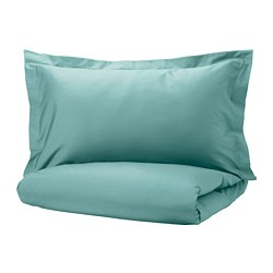 LUKTJASMIN - quilt cover and 2 pillowcases, grey-turquoise, 200x200/50x80 cm | IKEA Hong Kong and Macau - PE785330_S3