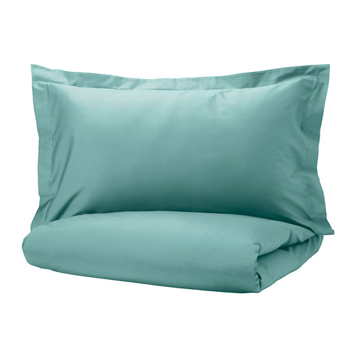 LUKTJASMIN quilt cover and 2 pillowcases, grey-turquoise, 200x200/50x80 cm