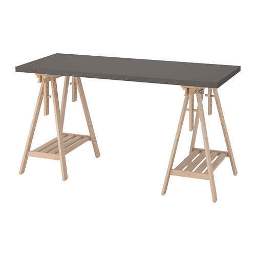 LAGKAPTEN/MITTBACK - desk, dark grey/birch | IKEA Hong Kong and Macau - PE812973_S4