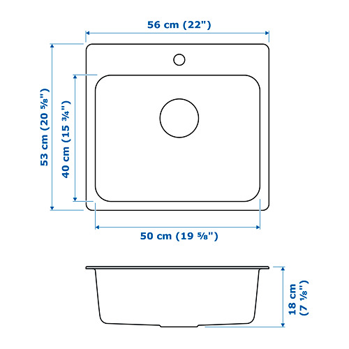 LÅNGUDDEN - 單星盆, 不銹鋼 | IKEA 香港及澳門 - PE718591_S4