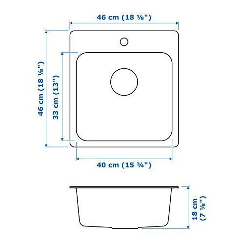 LÅNGUDDEN - inset sink, 1 bowl, stainless steel | IKEA Hong Kong and Macau - PE718594_S4